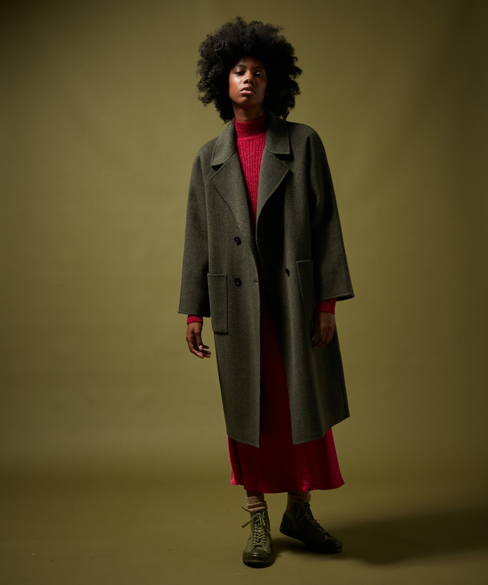Valene army coat in wool double face