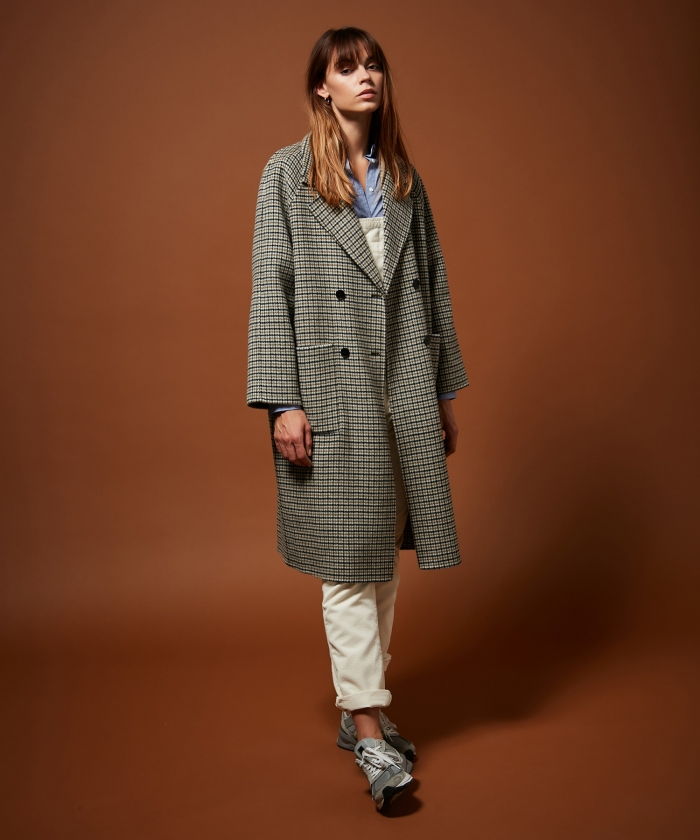 Valene double face checks wool coat