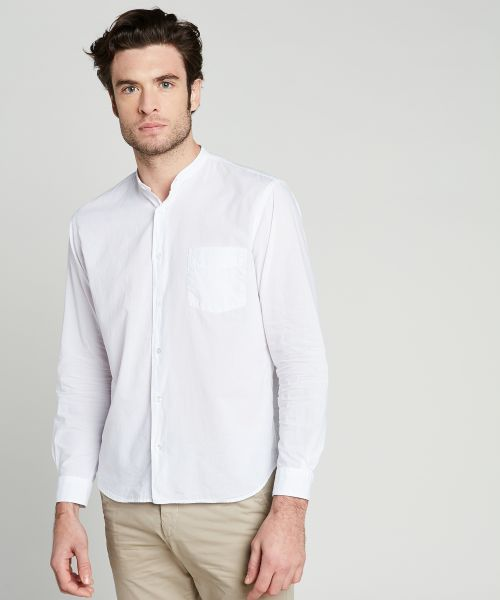 White cotton voile Premium grandad-collar shirt