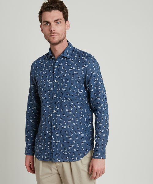 Printed linen slim-fit Storm shirt
