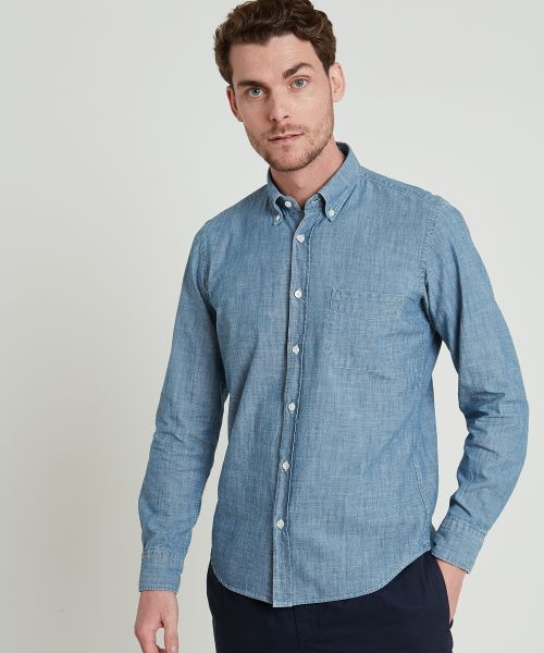 Chambray slim-fit Side shirt