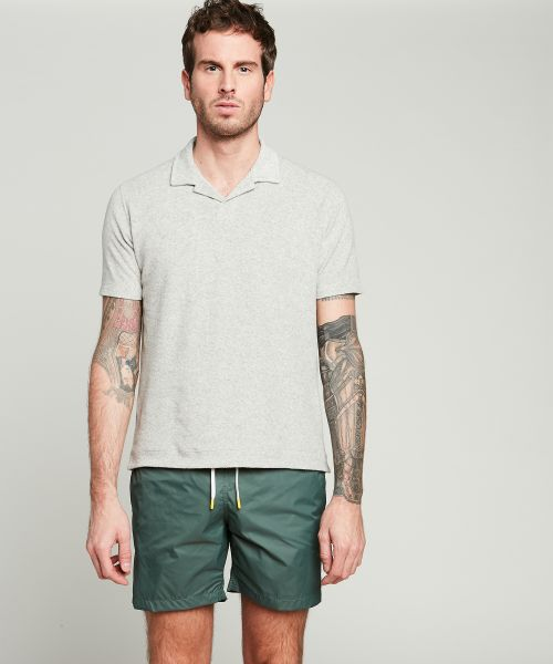 Olive green solid lightweight Swim shorts