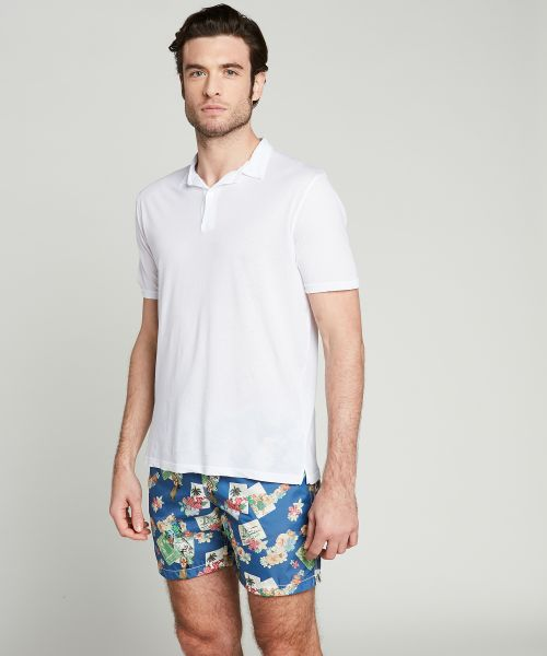 Hawaiian Postcard print swim shorts