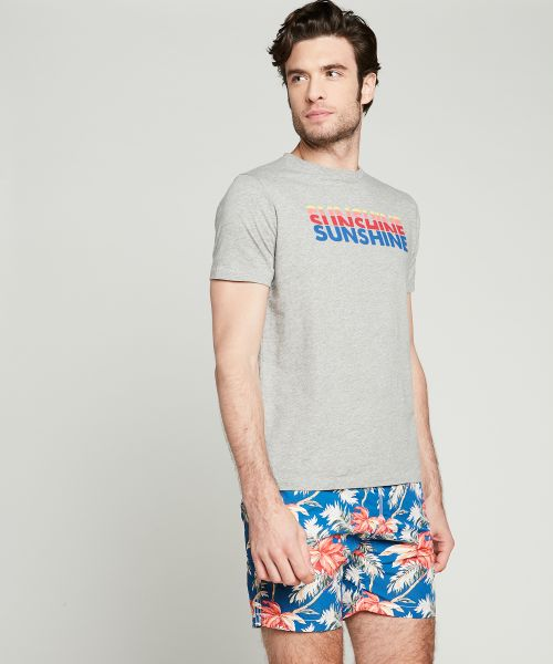 Blue hibiscus prints swim shorts