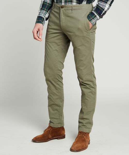 Olive green Tucson pants in stretch cotton