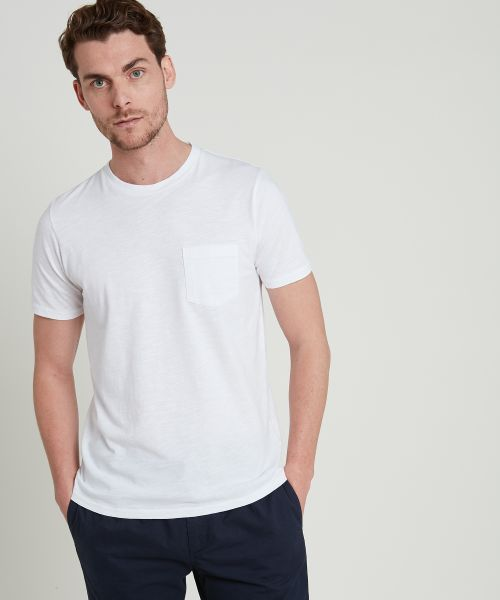 White slub cotton pocket crew tee