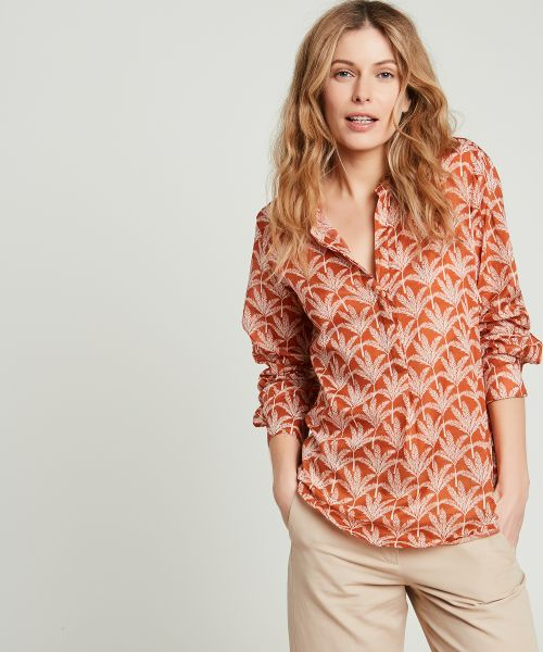 Tangerine Carta palmtrees cotton shirt