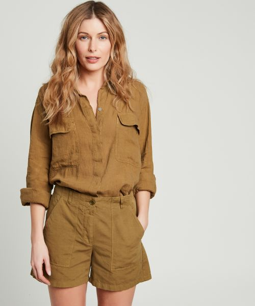 Olive green Pocket linen Chicago shirt