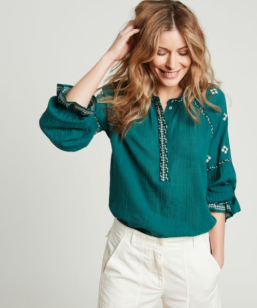 Green ethnic embroidered blouse