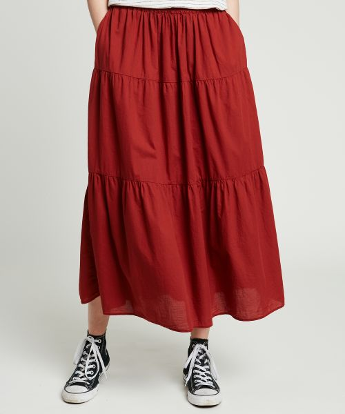 Garment-dyed cotton Jardin skirt