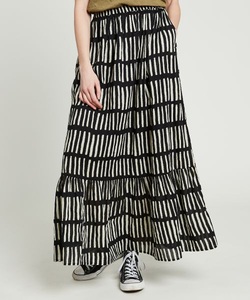 Jig flared striped skirt