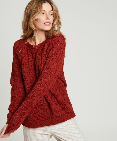 Terracotta Marchel openwork knit sweater