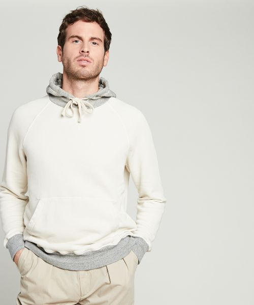Contrasted jersey fleece hoody