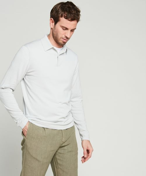 Off-white light cotton knit polo