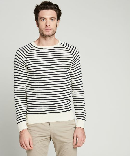 Striped slub sweater