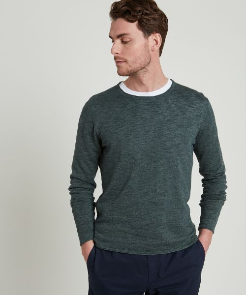 Olive green linen and cotton sweater