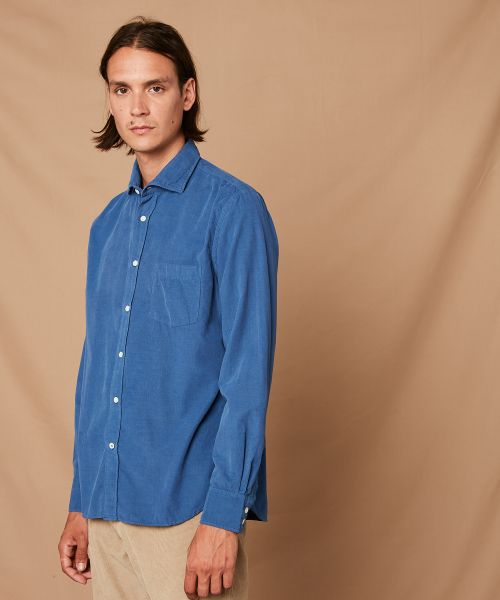 Chemise regular Paul en velours bleu