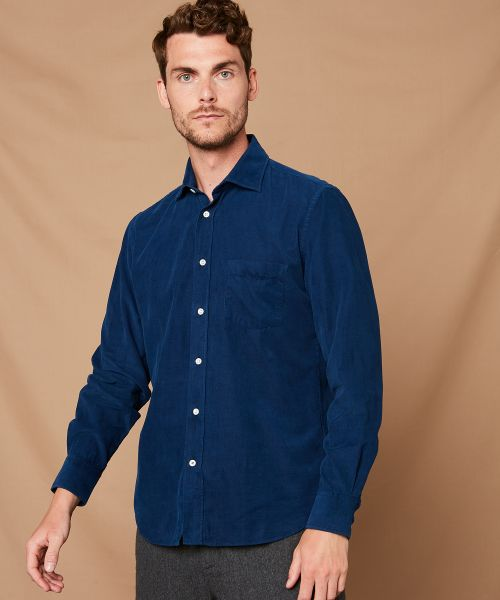 Chemise regular Paul en velours nuit
