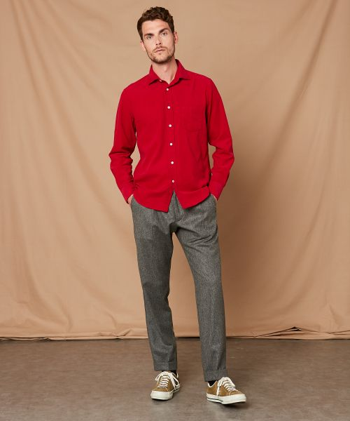 Chemise regular Paul en velours rouge