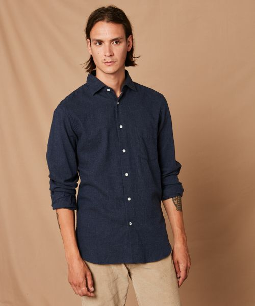 Blue cotton flannel Penn regular shirt