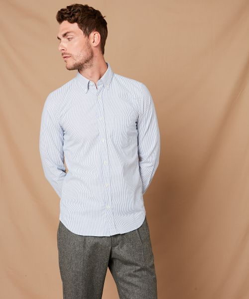 Chemise slim-fit Side en Oxford à rayures