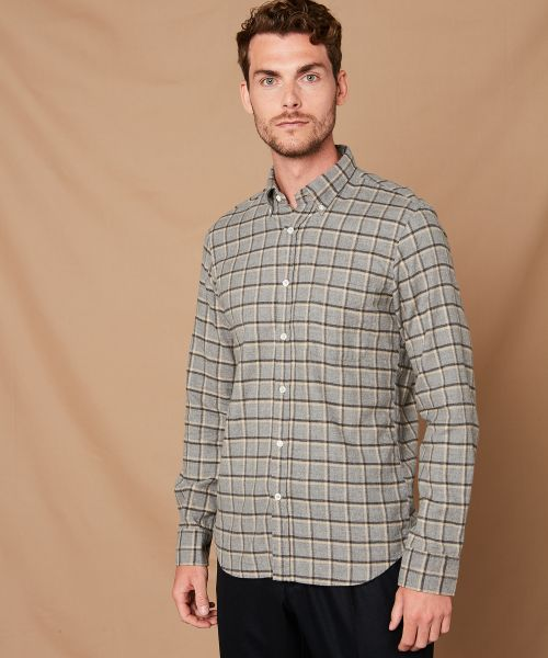 Checked cotton flannel Side shirt