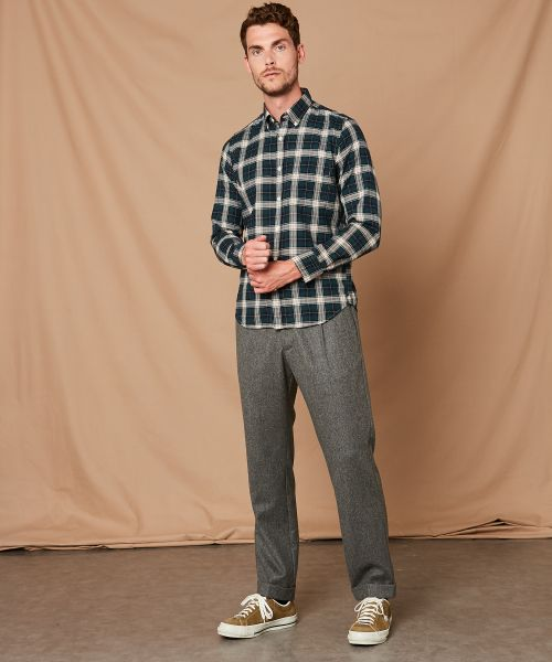 Checked slim-fit Side shirt