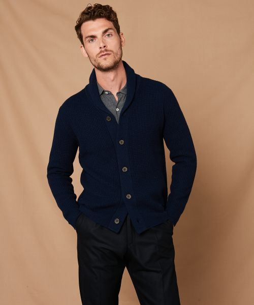 Navy rib wool and cashmere cardigan