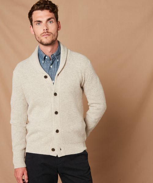 Beige rib wool and cashmere cardigan