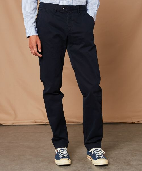 Cotton pique navy Tobby pants