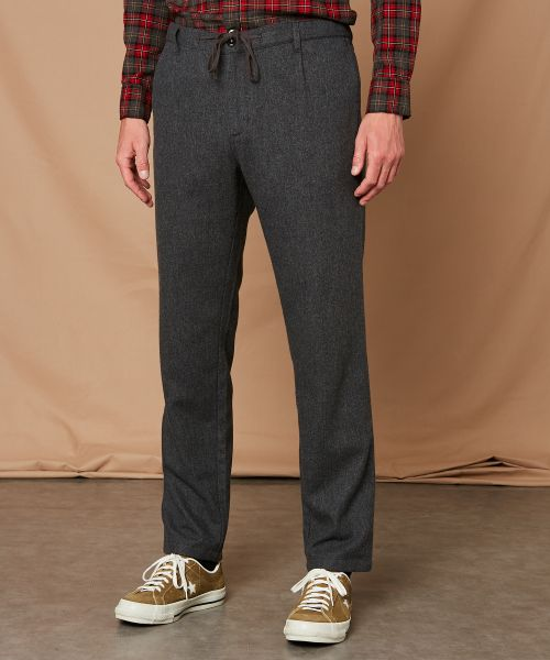 Grey washable wool Tanker pants