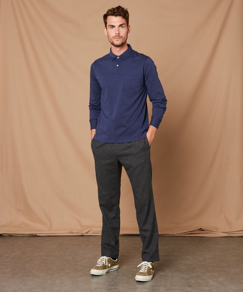 Navy blue cotton jersey long-sleeved polo