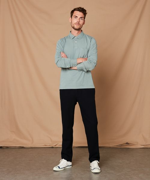 Sage green cotton jersey long-sleeved polo