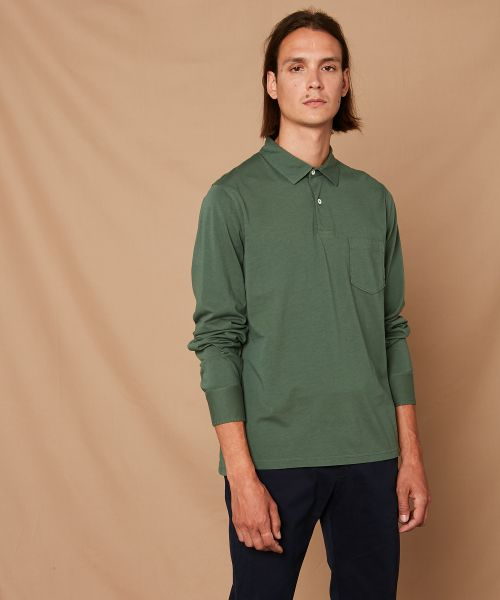 Forest green cotton jersey long-sleeved polo