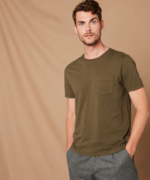 Camel slub cotton pocket crew tee-shirt