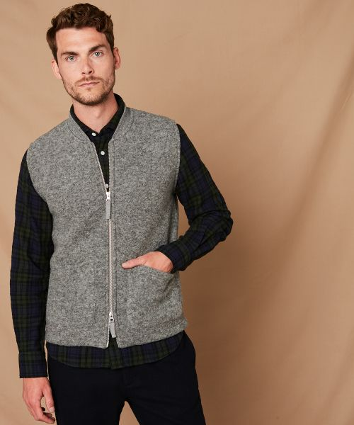 Grey boiled wool sleeveless jacket