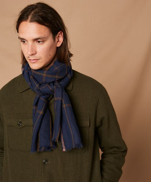 Check blue wool scarf