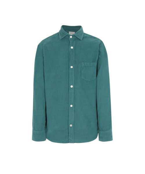 Chemise regular Paul en velours vert