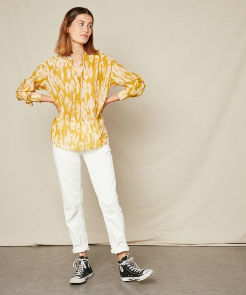 Yellow Ikat print Cabane shirt