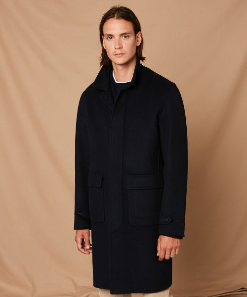 Navy double face wool Clark Coat