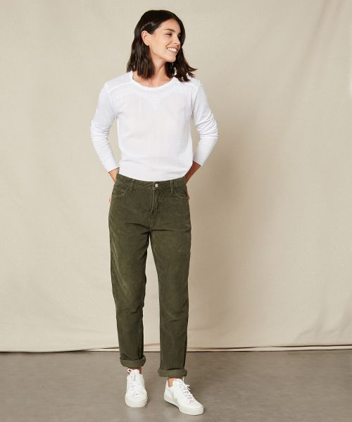 Pencil pants in army corduroy