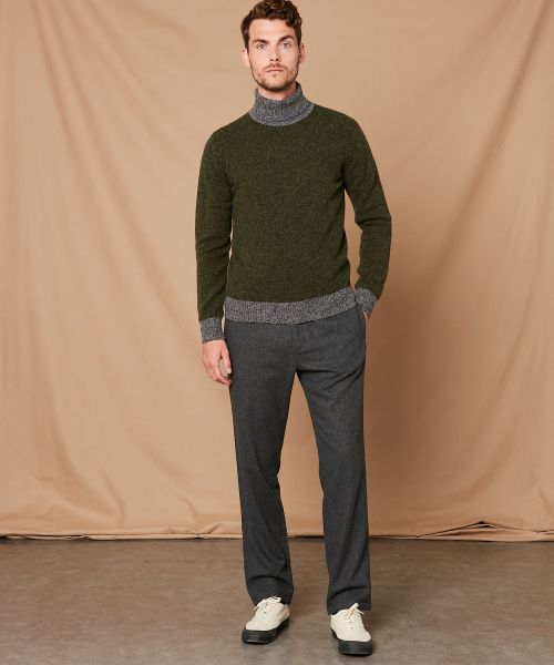 Bicolor shetland wool roll neck sweater