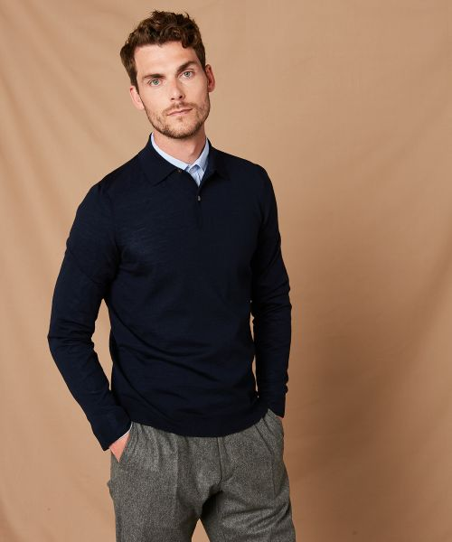 Navy merino buttoned wool polo