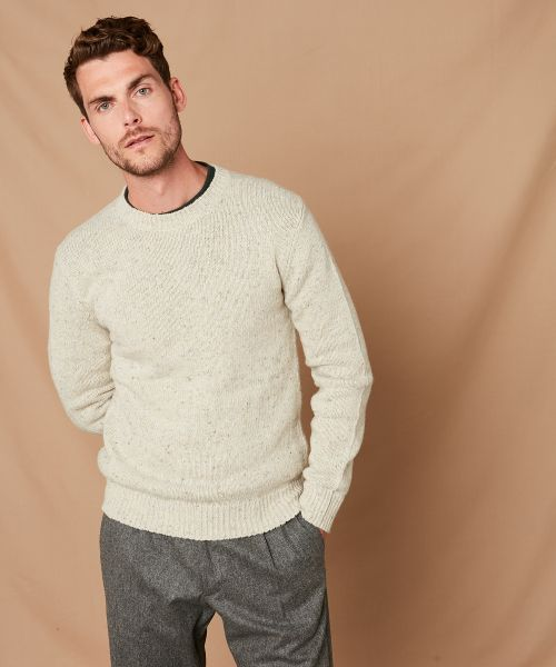 Ivory Donegal wool crew sweater