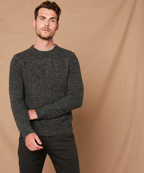 Grey Donegal wool crew sweater
