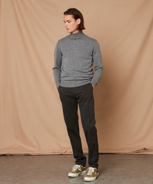 Grey wool and cashmere roll neck sweater