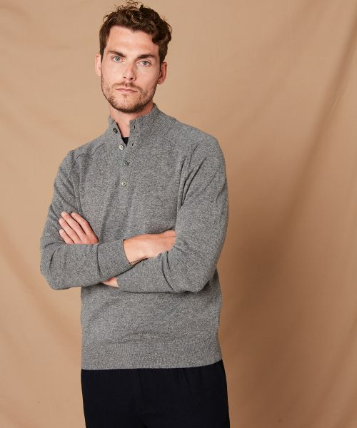 Grey wool and cashmere high-neck sweater