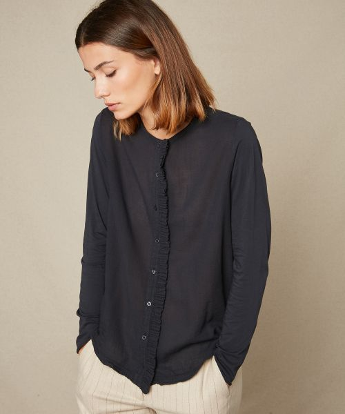 Double fabric charcoal frilled shirt