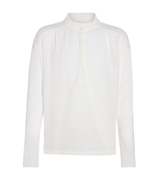 Double fabric white ruffled tee-shirt