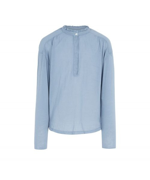 Double fabric light blue ruffled tee-shirt